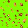 Seamless pattern of giraffe lion and monkey