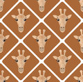 Seamless pattern with giraffes rhombuses on beige background