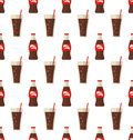 Seamless Pattern with Glass and Bottle with Dark Red Beverage Royalty Free Stock Photo