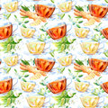 Seamless pattern of a glass cup and Jasmine and ginger.