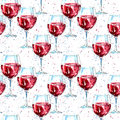 Seamless pattern of a glass red wine and splash.