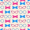 Seamless pattern with glasses and bows - vector illustration, eps