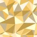 Seamless pattern with glitter gold triangles. Abstract mosaic background. Geometric illustration. Yellow backdrop.