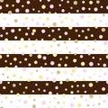Seamless pattern with glittering dots on pink glitter stripes.Polka dot pattern. Bright holidays stripes background.Gold gl