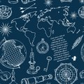 Seamless pattern with globe, compass, world map and wind rose. Royalty Free Stock Photo