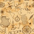 Seamless pattern with globe, compass, world map and wind rose. Vintage science objects set in steampunk style. Royalty Free Stock Photo