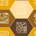 Seamless pattern with glyphs of the maya periods calendar names for your design Royalty Free Stock Photos