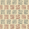 Seamless pattern with glyphs of the maya periods calendar names for your design Royalty Free Stock Photo