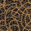 Seamless pattern with gold chain on lepard skin , belt and pearls. illustration