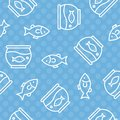 Seamless pattern gold fish in bowl, outline style Royalty Free Stock Photo