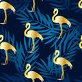 Seamless pattern with gold flamingo and gradient palm branches. Ornament for textile and wrapping. Vector