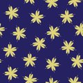 Seamless pattern with gold flowers cherry on a deepblue geometric background