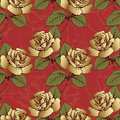 Seamless pattern from gold flowers roses. Woven flowers, buds, leaves and stems on a scarlet background with flowery patterns. Wal