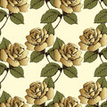 Seamless pattern from gold flowers roses. Woven flowers, buds, leaves and stems on a yellow background. Wallpaper, wrapper, packag Royalty Free Stock Photo