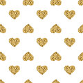 Seamless pattern with gold glitter hearts on white background Royalty Free Stock Photo