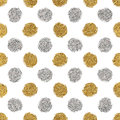 Seamless pattern of gold glitter and silver polka dots