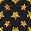 Seamless pattern with gold glitter textured stars on the dark background Royalty Free Stock Photo
