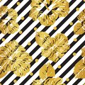 Seamless pattern gold hibiscus on striped background