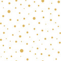 Seamless pattern with gold polka dots texture on white