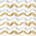 Seamless pattern of gold and silver wavy stripes