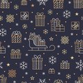 Seamless pattern with gold snowflakes and presents on dark purple background. Flat line gift boxes icons, cute repeat