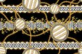 Seamless Pattern of Golden antique decorative barque and chains with versace motif on black background. Fabric Design Background r Royalty Free Stock Photo