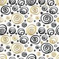 Seamless Pattern Golden Black Whitw Hand Drawn
