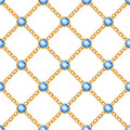 Seamless pattern with golden chains sapphires.