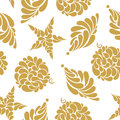 Seamless pattern of Golden Christmas tree toys on a white backgr Royalty Free Stock Photo