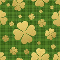 Seamless pattern with golden clover leaf. St. Patricks day background. Vector Illustration Royalty Free Stock Photo