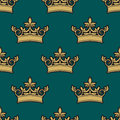 Seamless pattern of a golden crowns depicting royalty on green background in square format suitable for wallpaper textile or Stock Photography