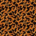 Seamless pattern of golden elements of baroque rococo style isolated on background