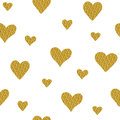 Seamless pattern with golden glitter hearts isolated on a white Royalty Free Stock Photo