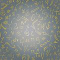 Seamless Pattern of Golden Hand Drawn Doodle Symbols and Numbers. Scribble Mathematics Signs. Royalty Free Stock Photo