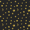 Seamless pattern with golden hand drawn stars and crescent moons. Vector illustration Royalty Free Stock Photo