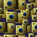 Seamless pattern of Golden plates with blue screws.shadows give the background perspective and volume.