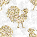 Seamless pattern with golden rooster on black background. 2017 new symbol.