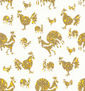 Seamless pattern of Golden Roosters. Royalty Free Stock Photo