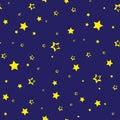 Seamless pattern with golden stars on dark blue background. Vector