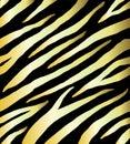 Seamless pattern of golden zebra print on black Royalty Free Stock Photo