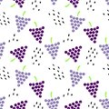 Seamless pattern with grapes and seeds.
