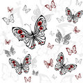 Seamless pattern of gray butterfly Stock Photo