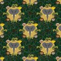 Seamless pattern with a gray elephant