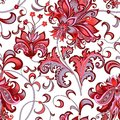 Seamless pattern with  gray  and red flowers