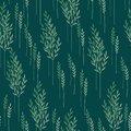 Seamless pattern of green branches with leaves and light blue shadows on a dark aquamarine background