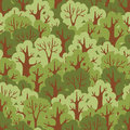 Seamless pattern with green deciduous forest vector illustration Stock Photos