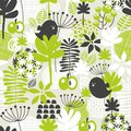 Seamless pattern with green grass and dark birds vector background Royalty Free Stock Images
