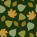 Seamless pattern with green leaves a Stock Images
