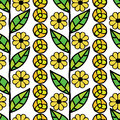 Seamless pattern with green leaves and flowers Royalty Free Stock Images