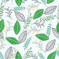 Seamless pattern with green leaves - vector illustration, eps